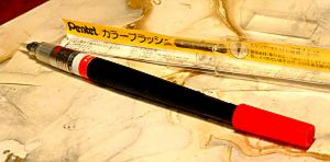 pentel brush marker with japanese lettering.JPG